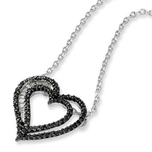 0.50 Ct Sterling Silver Black and White Diamond Heart Necklace