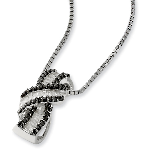 0.50 Ct Sterling Silver Black and White Diamond Necklace