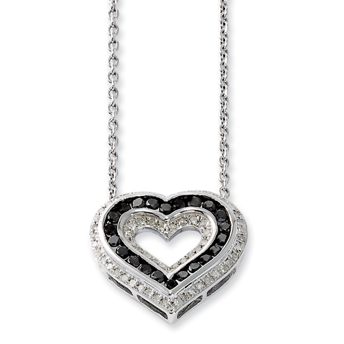 0.49 Ct Sterling Silver Black and White Diamond Heart Necklace