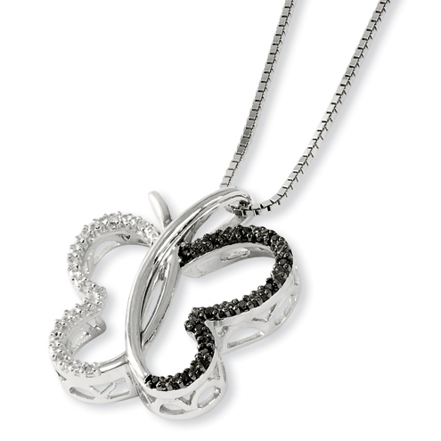 0.10 Ct Sterling Silver Black and White Diamond Butterfly Necklace