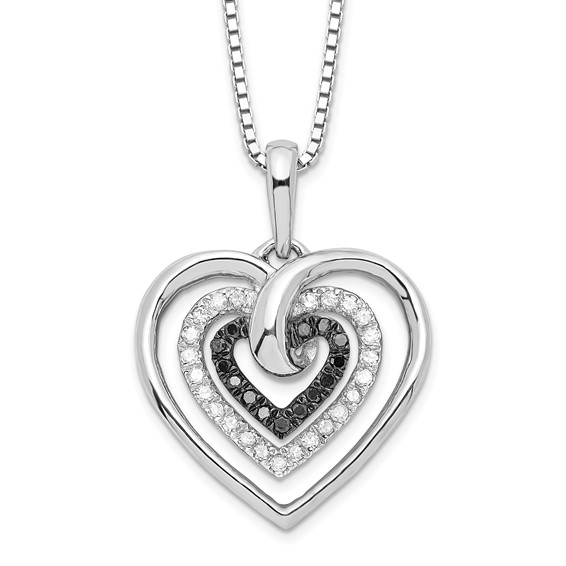 Sterling Silver 0.25 Ct Black and White Diamond Heart Necklace