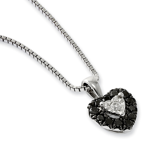 0.34 Ct Sterling Silver Black and White Diamond Heart Necklace