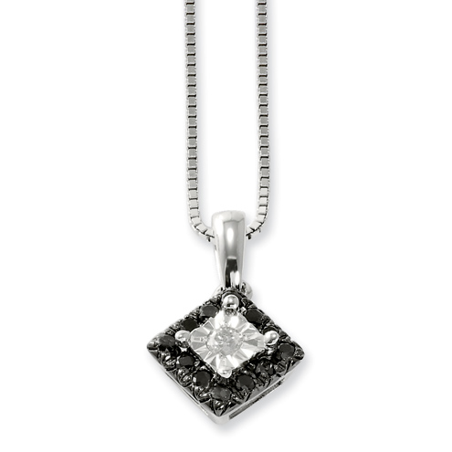 0.31 Ct Sterling Silver Black and White Diamond Square Necklace