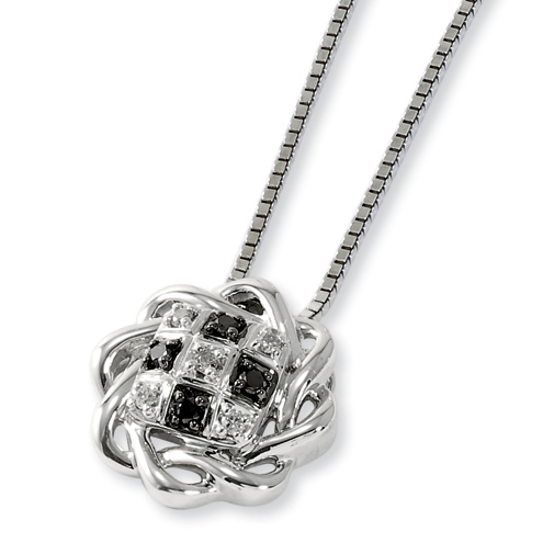 0.1 Ct Sterling Silver Black and White Diamond Circle Necklace