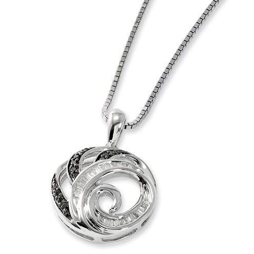 0.25 Ct Sterling Silver Black and White Diamond Round Necklace