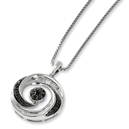 0.33 Ct Sterling Silver Black and White Diamond  Round Necklace