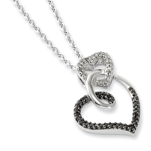 0.21 Ct Sterling Silver Black and White Diamond Heart Necklace