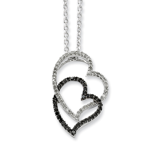 0.38 Ct Sterling Silver Black and White Diamond Heart Necklace