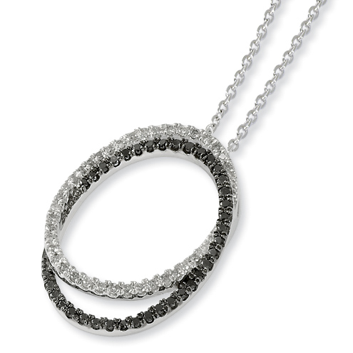 0.54 Ct Sterling Silver Black and White Diamond Ovals Necklace