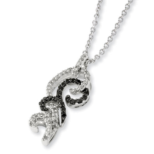 0.33 Ct Sterling Silver Black and White Diamond  Necklace