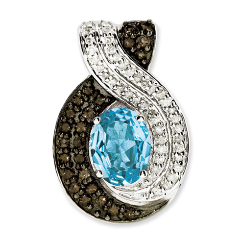 2.26 ct Sterling Silver Blue Topaz and Diamond Pendant