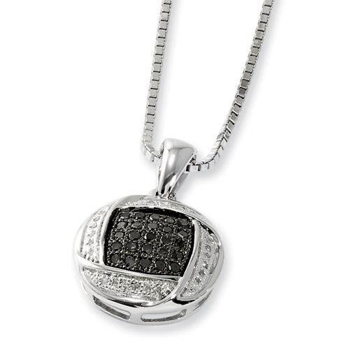 0.27 Ct Sterling Silver Black and White Diamond Necklace