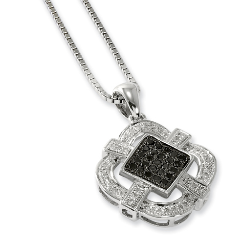 0.32 Ct Sterling Silver Black and White Diamond Necklace