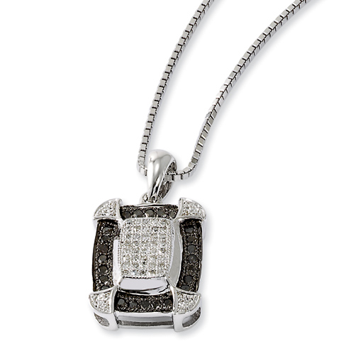 0.34 Ct Sterling Silver Black and White Diamond Necklace