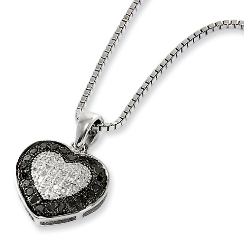 0.28 Ct Sterling Silver Black and White Diamond Heart Necklace