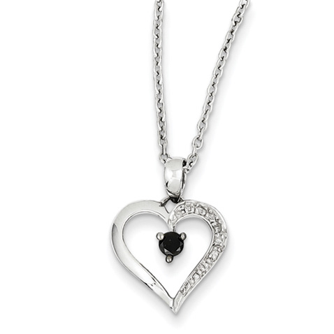 0.12 Ct Sterling Silver Black and White Diamond Heart Necklace
