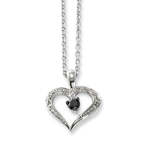 Sterling Silver 0.16 Ct White & Black Diamond Heart Necklace