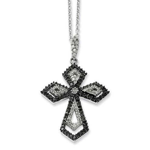 0.75 Ct Sterling Silver Black and White Diamond Cross Necklace
