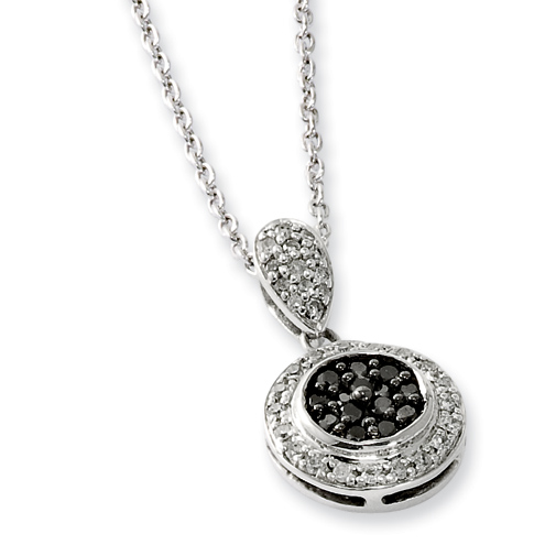 0.33 Ct Sterling Silver Black and White Diamond Circle Necklace