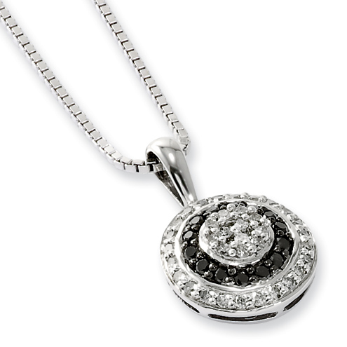 0.35 Ct Sterling Silver Black and White Diamond Circle Necklace