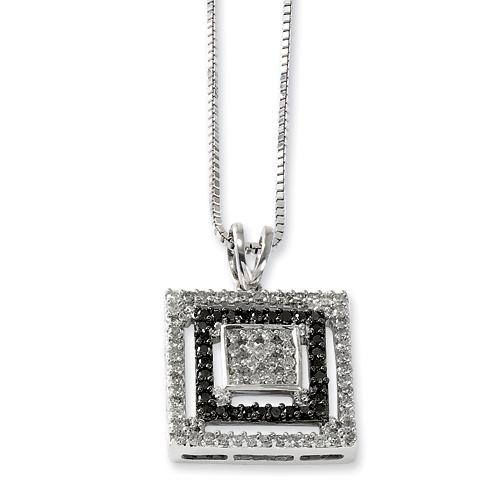 0.82 Ct Sterling Silver Black and White Diamond Square Design Necklace
