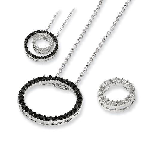 0.75 Ct Sterling Silver Black and White Diamond Double Circle Necklace