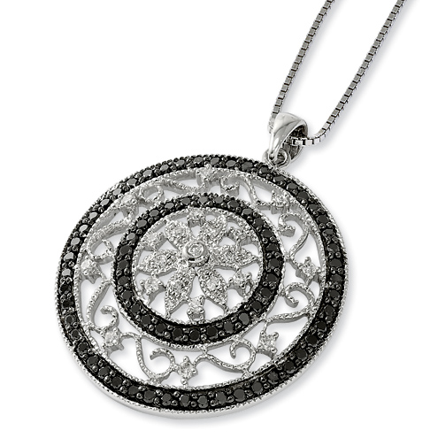 1.5 Ct Sterling Silver Black and White Diamond Large Medallion Necklace