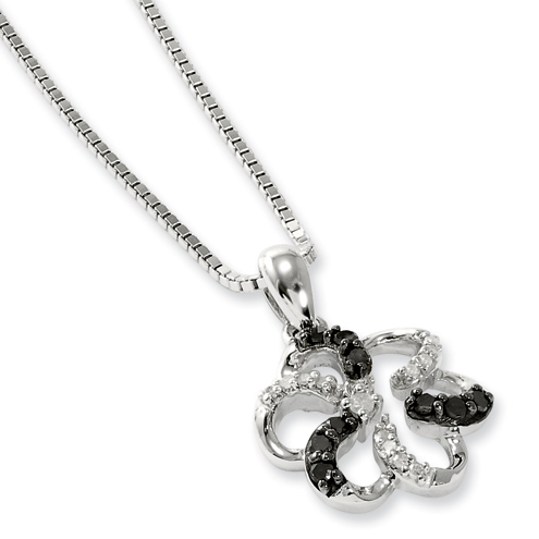 0.2 Ct Sterling Silver Black and White Diamond Necklace