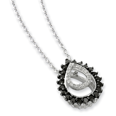 0.38 Ct Sterling Silver Black and White Diamond Necklace