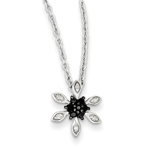 0.1 Ct Sterling Silver Black and White Diamond Necklace
