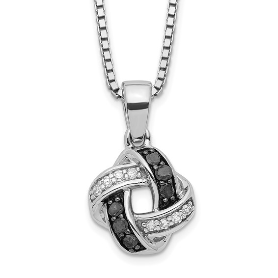 0.15 Ct Sterling Silver Black and White Diamond Necklace