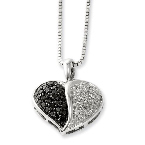0.5 Ct Sterling Silver Black and White Diamond Heart Necklace