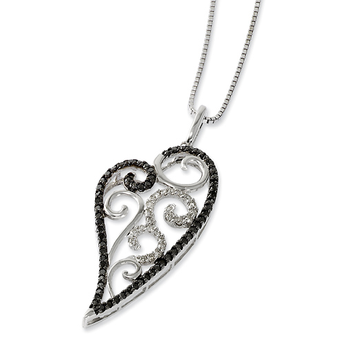 0.75 Ct Sterling Silver Black and White Diamond Necklace