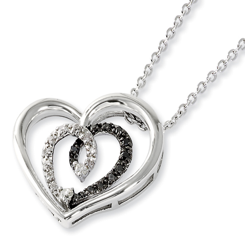 Sterling Silver 0.16 Ct Black and White Diamond Heart Necklace