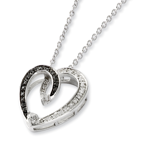 0.2 Ct Sterling Silver Black and White Diamond Heart Necklace