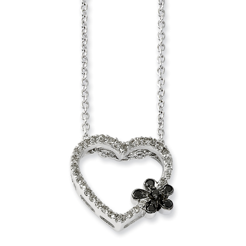 0.25 Ct Sterling Silver Black and White Diamond Heart Necklace