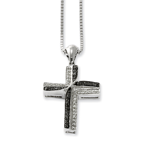 Sterling Silver 0.2 Ct Black and White Diamond 7/8in Cross Necklace
