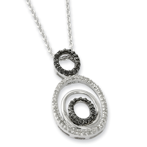 0.4 Ct Sterling Silver Black and White Diamond Oval Necklace