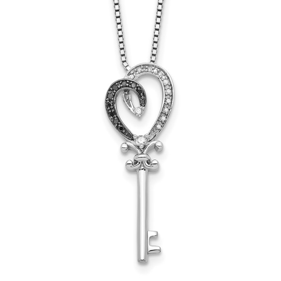 0.12 Ct Sterling Silver Black and White Diamond Heart Key Necklace