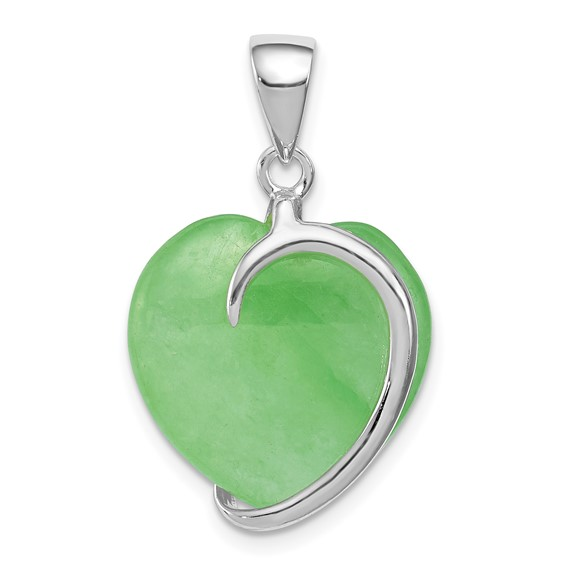 Green Jade Heart Charm - Sterling Silver