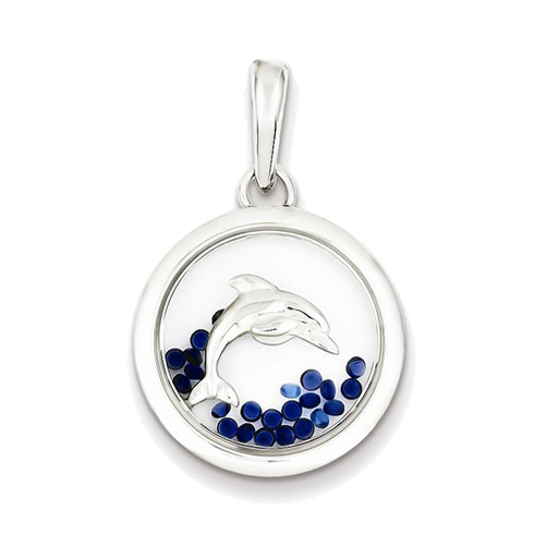 Sterling Silver 3/4in Dolphin and Floating Glass Beads Pendant