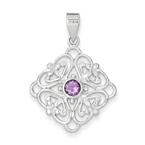 5mm Amethyst Pendant - Sterling Silver