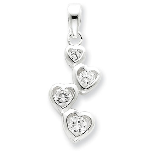 Sterling Silver Graduated CZ Heart Pendant
