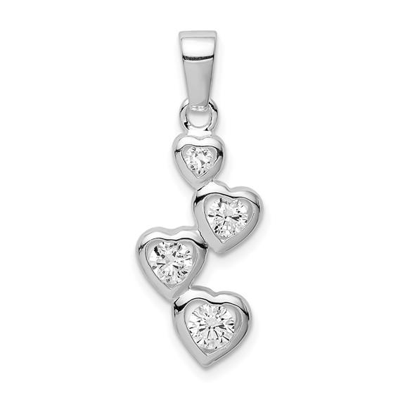 Sterling Silver Graduated CZ Heart Pendant