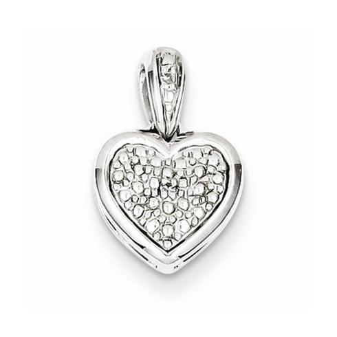 Sterling Silver 7/16in Diamond Heart Pendant