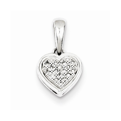Sterling Silver 3/8in Diamond Heart Pendant