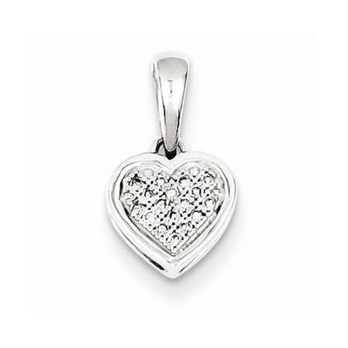 Sterling Silver 3/8in Diamond Heart Pendant