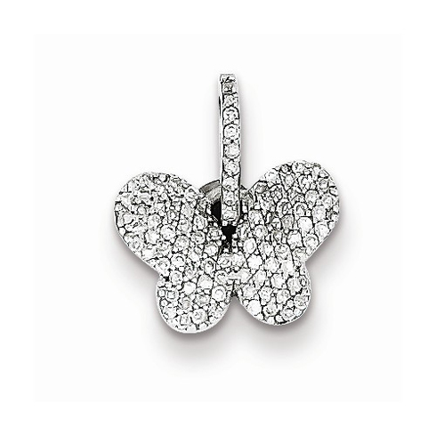 Sterling Silver 3/8in Diamond Butterfly Pendant
