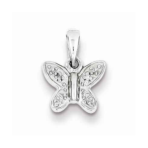 Rhodium Plated Sterling Silver 1/4in Diamond Butterfly Pendant