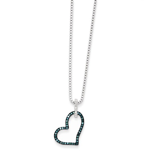 Sterling Silver 1/6 ct Blue Diamond Outline Heart Necklace